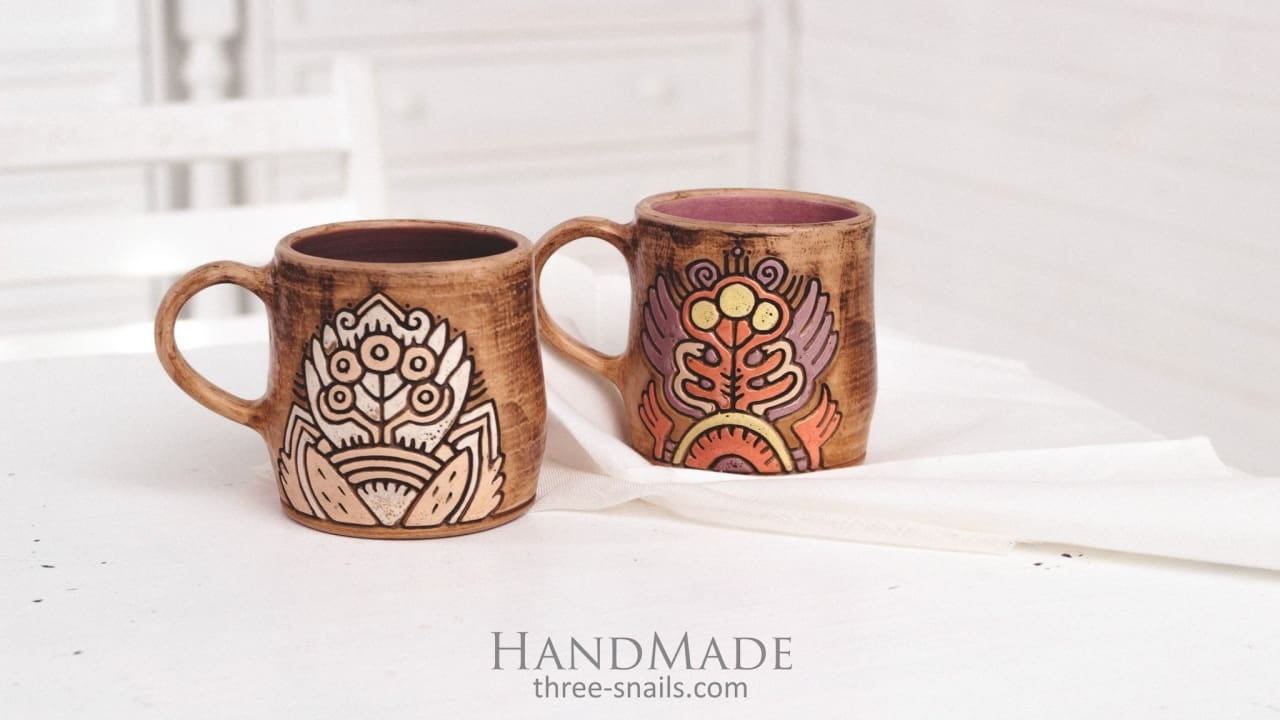 Big Coffee Mug Stylized Flower - Cup And Mug