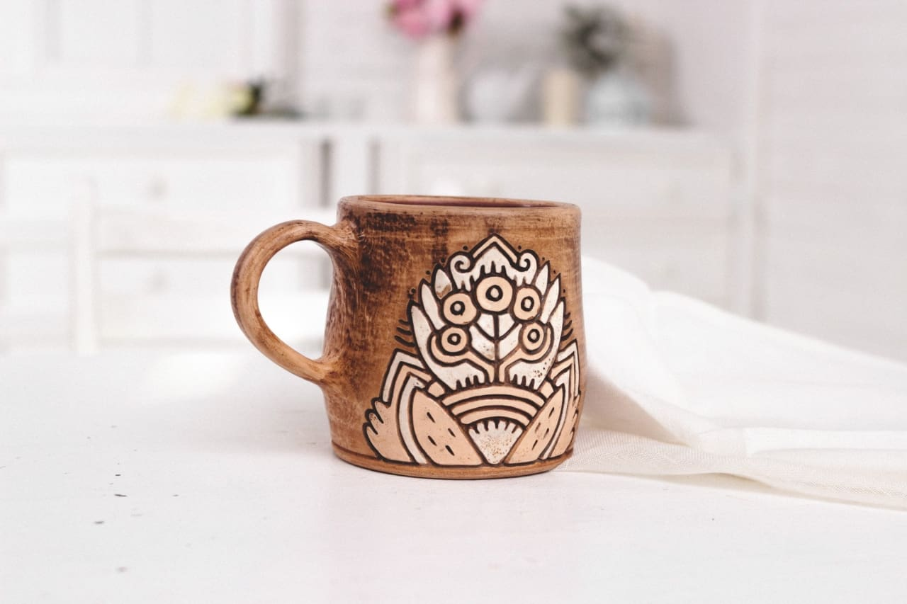 handmade clay mugs