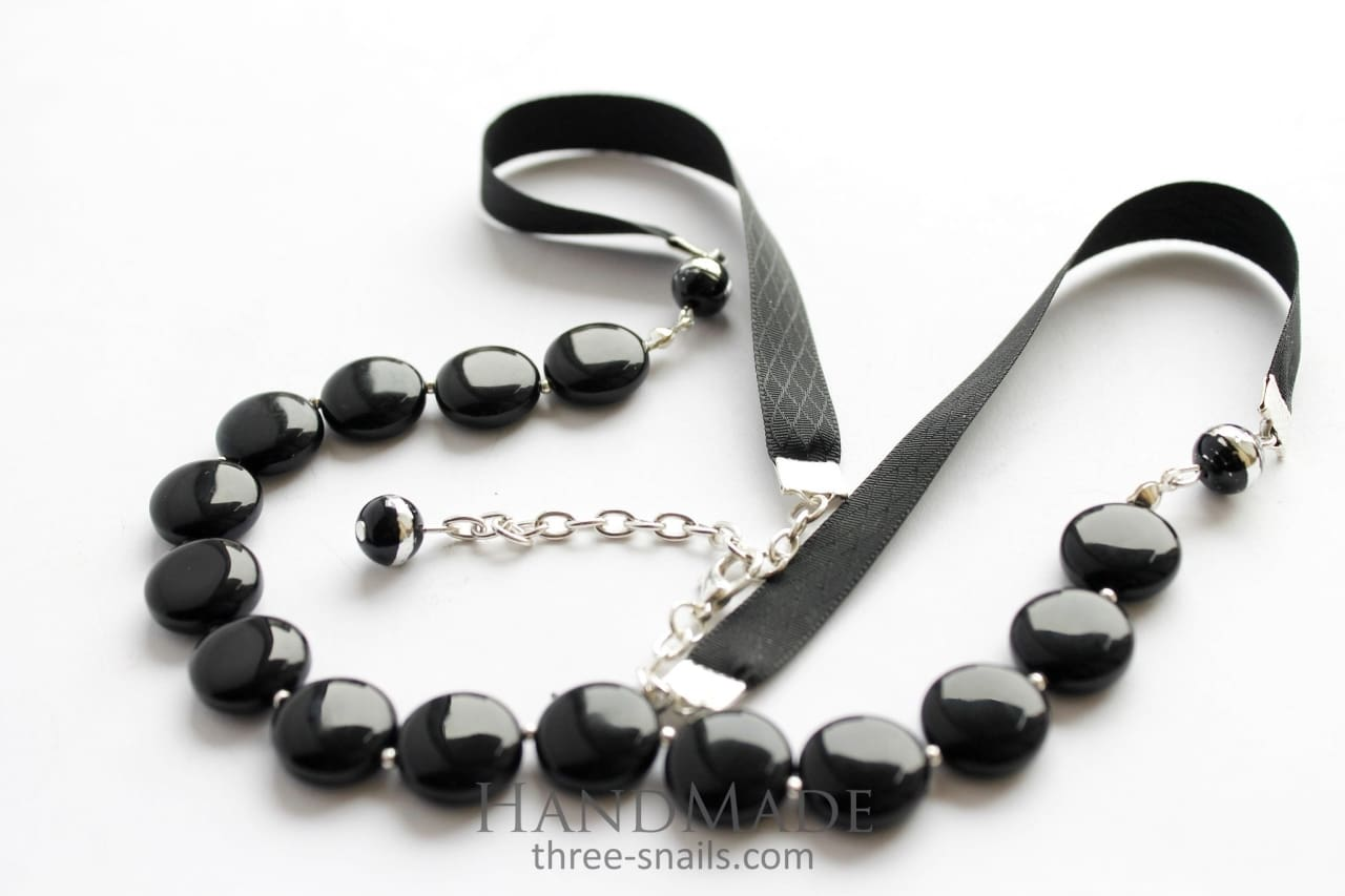 "Black beaded necklace ""Magic"" - 1"