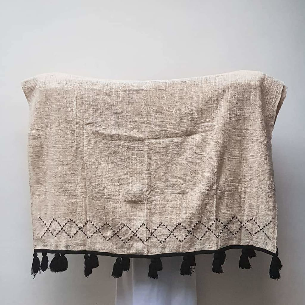 Black Tassel Cotton Blanket - Blanket