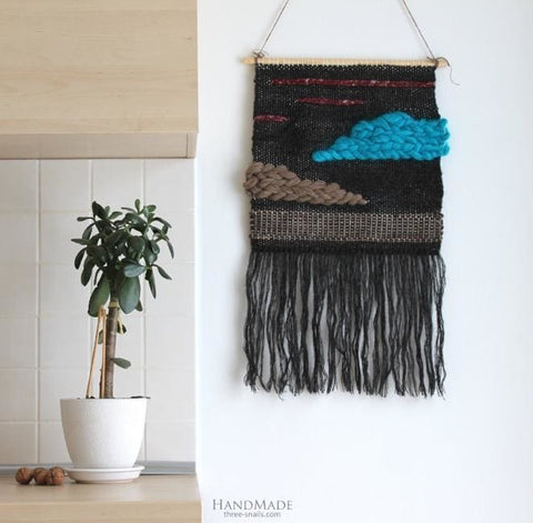 "Black wall hanging ""Blue cloud"""