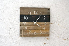 Black & White Reclaimed Wood Wall Clock - Clock