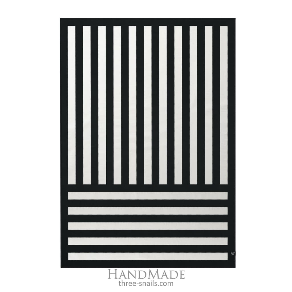Black-White Striped Merino Wool Blanket - Blanket