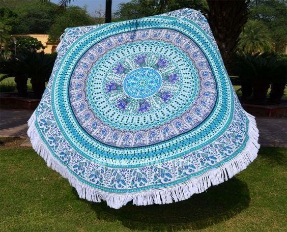 braided blue beach blanket