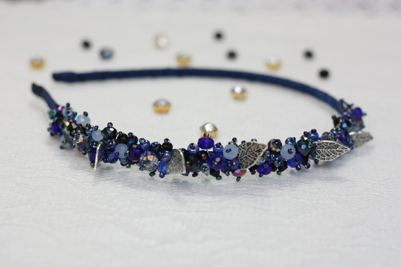 Blue Beaded Head Piece Blue Night - Vasylchenko1