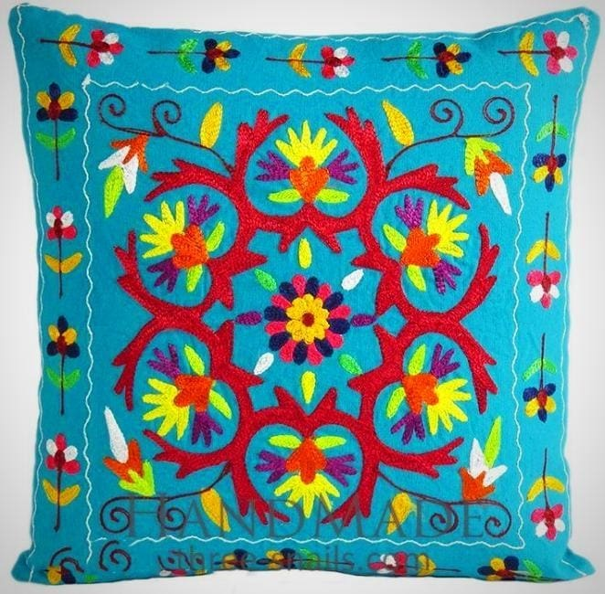 Blue indian pillow