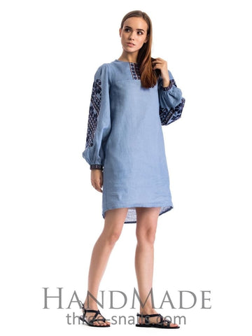 Blue Embroidered Dress Sky Blue  - Vasylchenko1