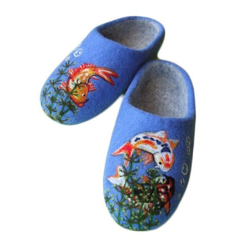 Blue Felted Wool Slippers Koi Fish - Vasylchenko1