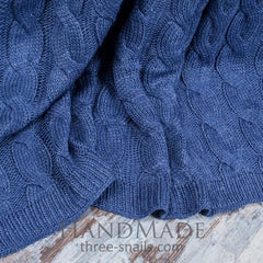 Blue Knitted Throw - Blanket