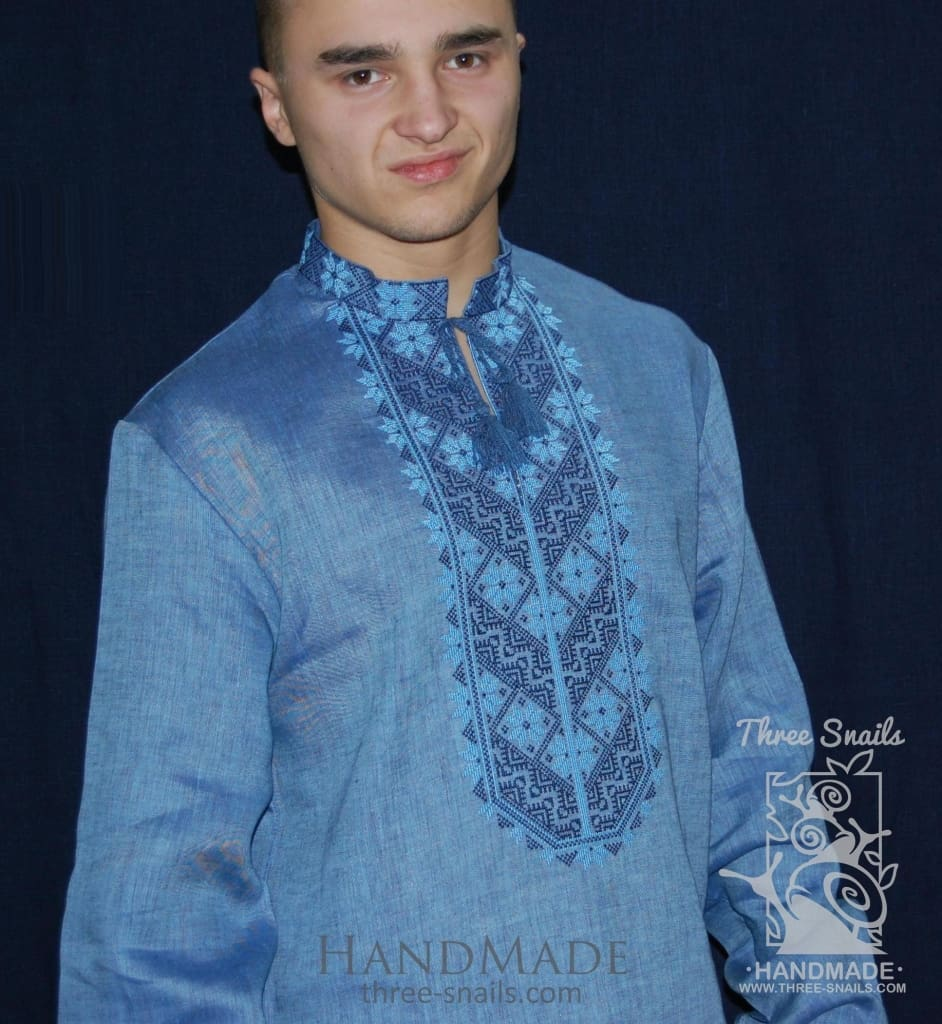 "Blue men shirt with embroidery ""Blue shades"" - 1"