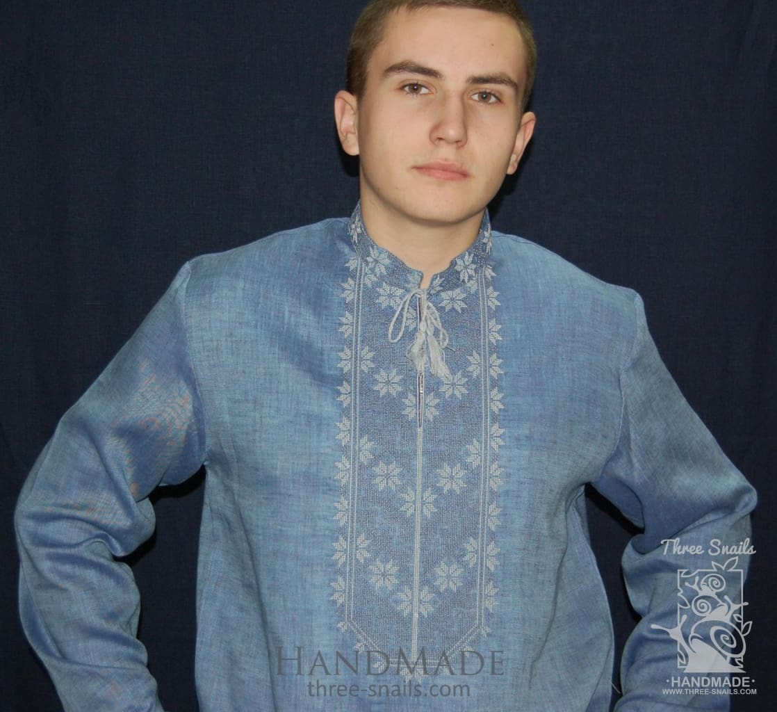"Blue men shirt with embroidery ""Water"" - 1"