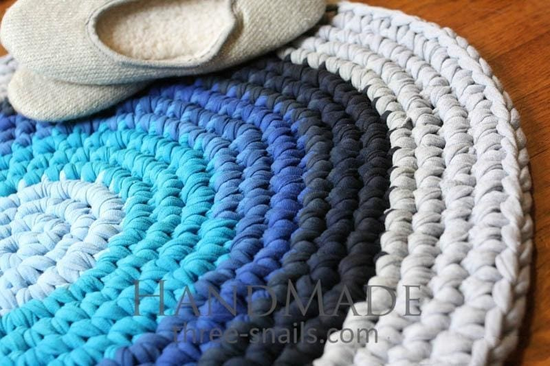 Blue Round Bathroom Rug - Rug