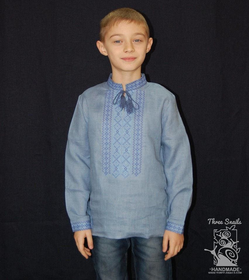 Boy Blue Shirt Linen Skies - Baby Clothes