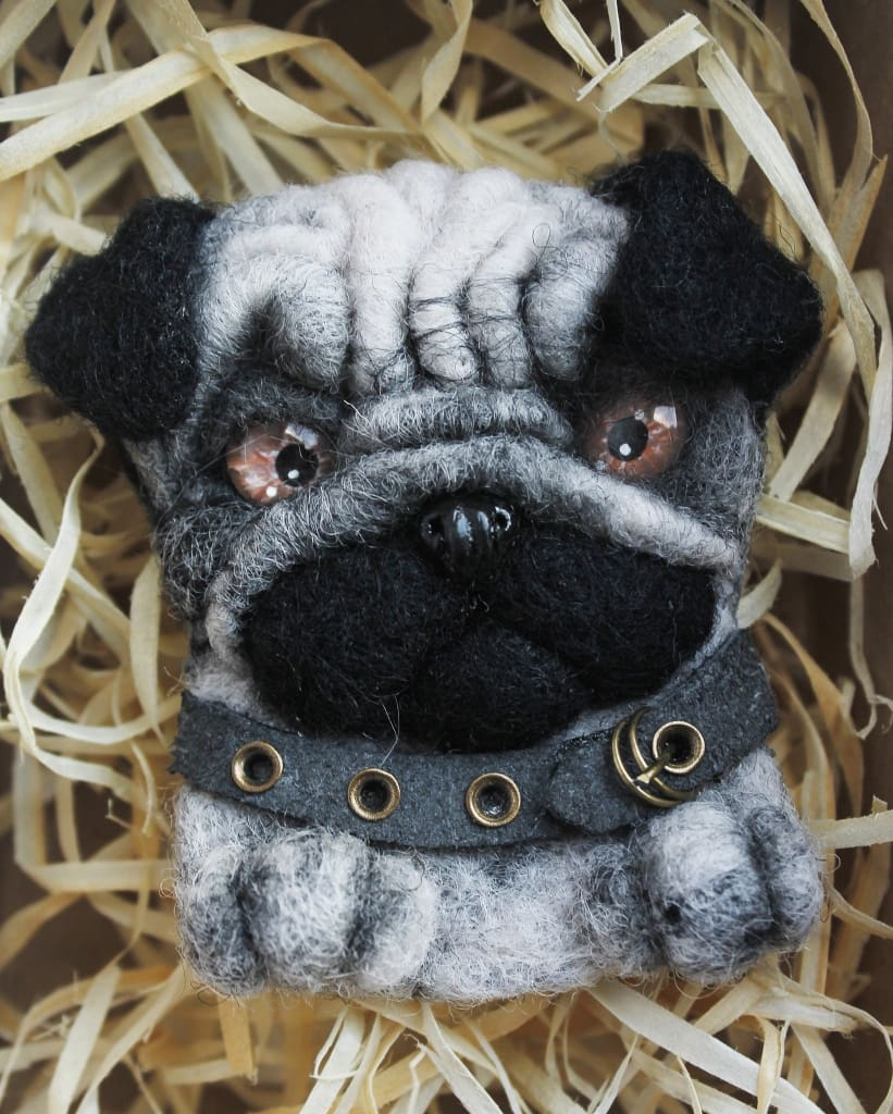Brooch Gray Pug-Dog - Melnichenko1