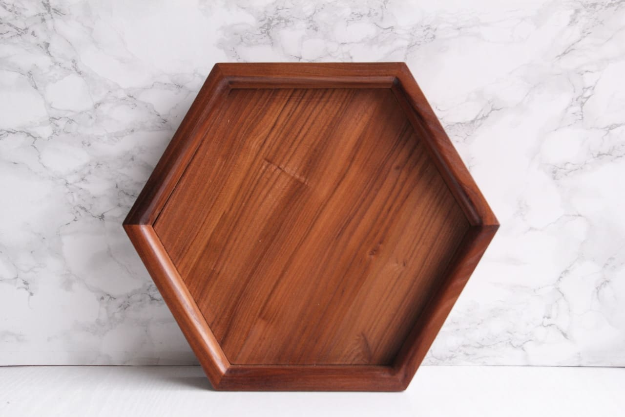 Brown Hexagon Tray - Tray