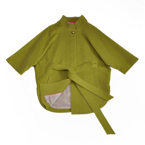 Cape Cut Coat Olive Green - Vasylchenko1