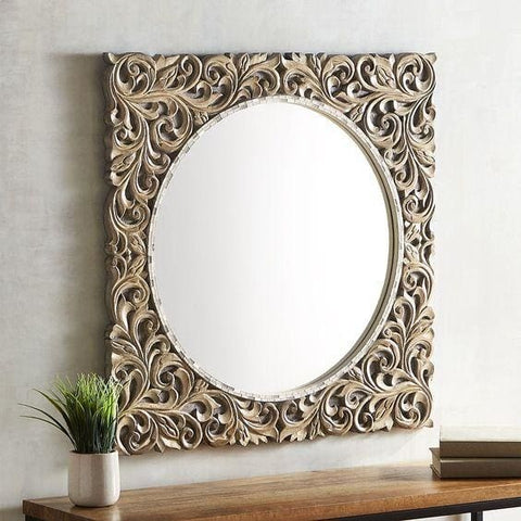 Carved Square Mirror - Mirror