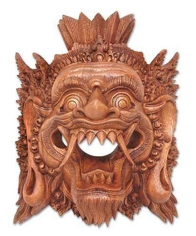 Carved wood mask Yama God of the Dead - 1