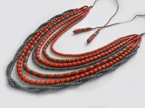 Ceramic Beads Necklace Black And Red - Vasylchenko1