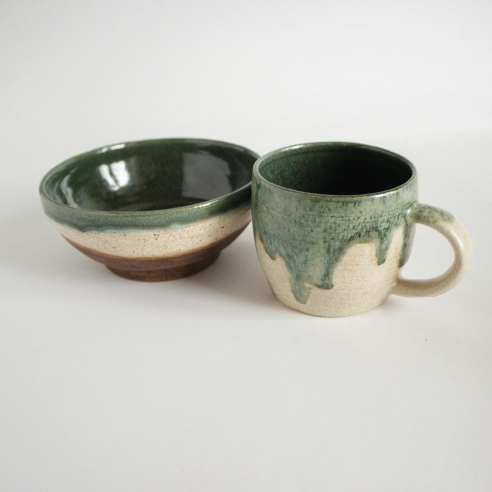 "Ceramic cups and bowls set ""Green design"" - 1"
