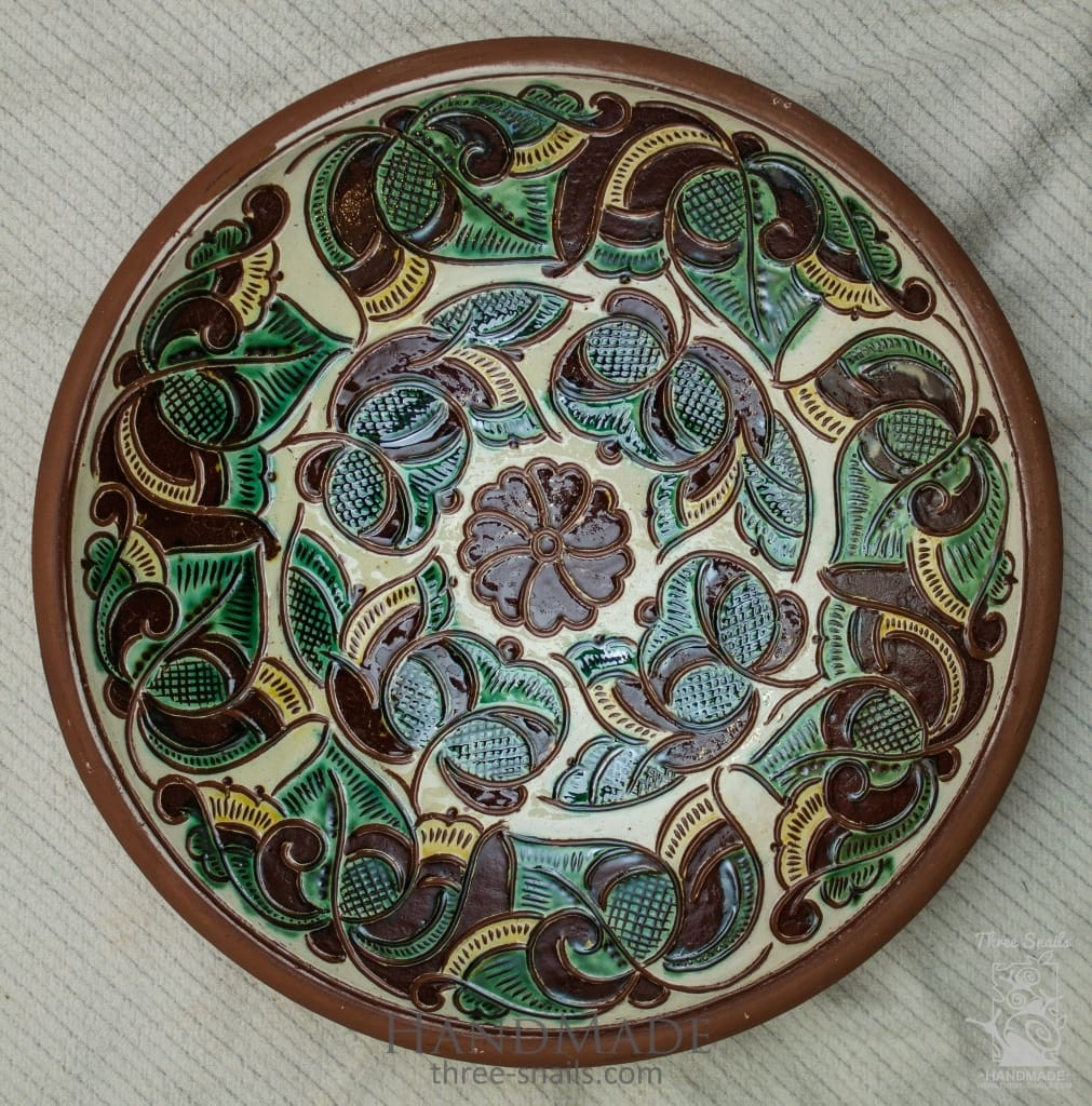 Ceramic Decorative Plate Fern Flower - Vasylchenko1