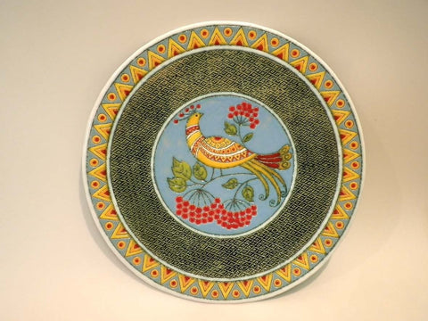 Ceramic Decorative Plate Nightingale And Viburnum - Melnichenko1