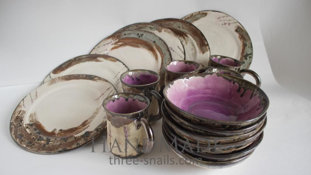 Ceramic Dinnerware Set Lavender Song - Dish Set