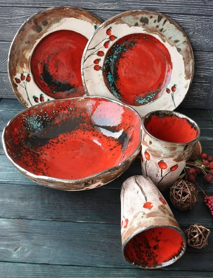 Ceramic Dish Set Red Briar - Dish Set