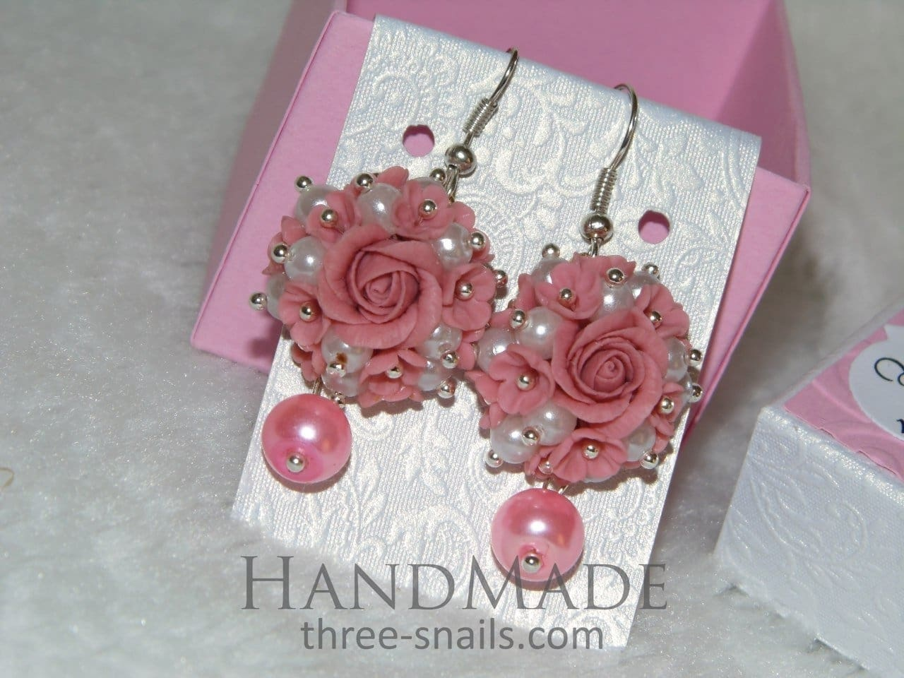 Ceramic Earrings Pink Pearl - Vasylchenko1