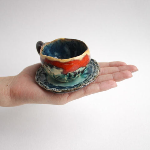 Ceramic Espresso Cup And Plate Shelves - Cup And Mug