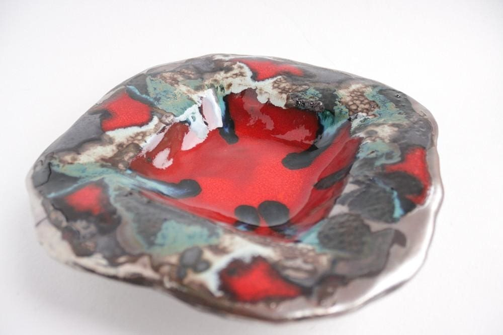 Ceramic Plate Red Square - Plate