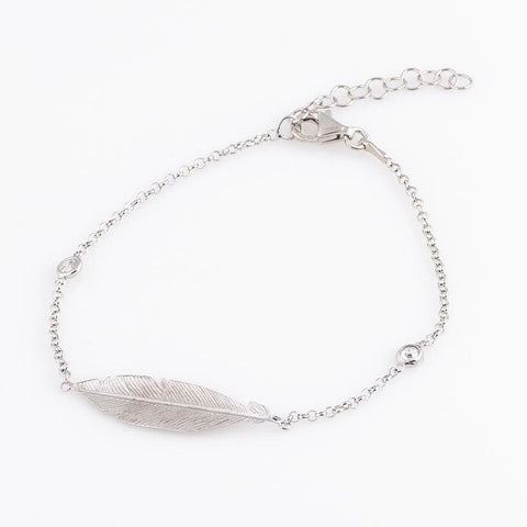 Charm Silver Bracelet With Feather - Vasylchenko1