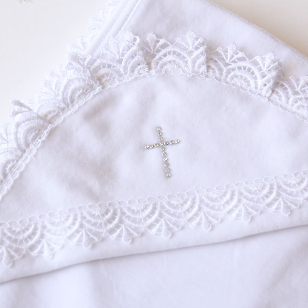 Christening Blanket With Rhinestones - Baptism Blanket
