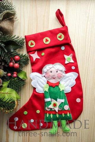 Christmas Stocking Angel With Applique - Vasylchenko1