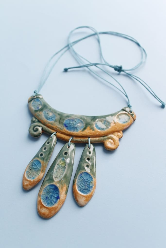 handmade clay necklace