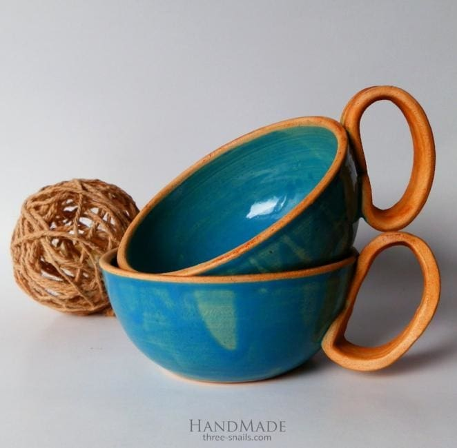 Clay Tea Cups Set Blue Dream - Cup And Mug