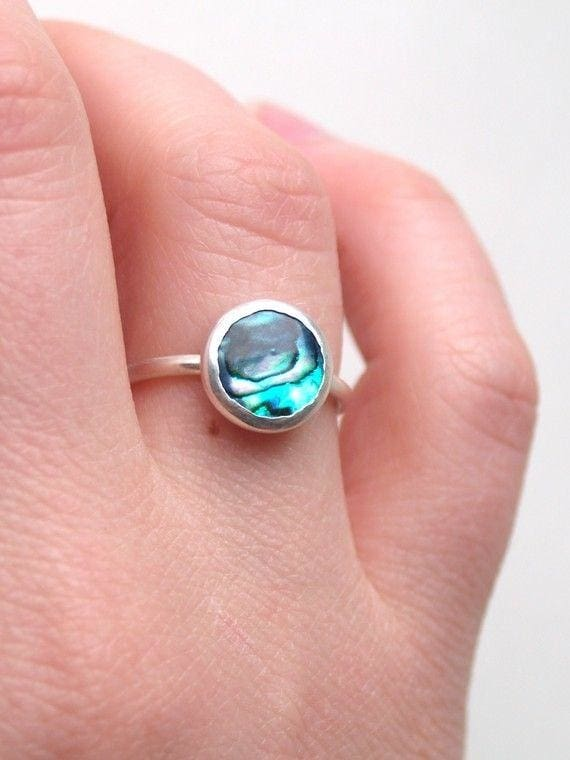 Colorful Abalone Shell Ring - Ring