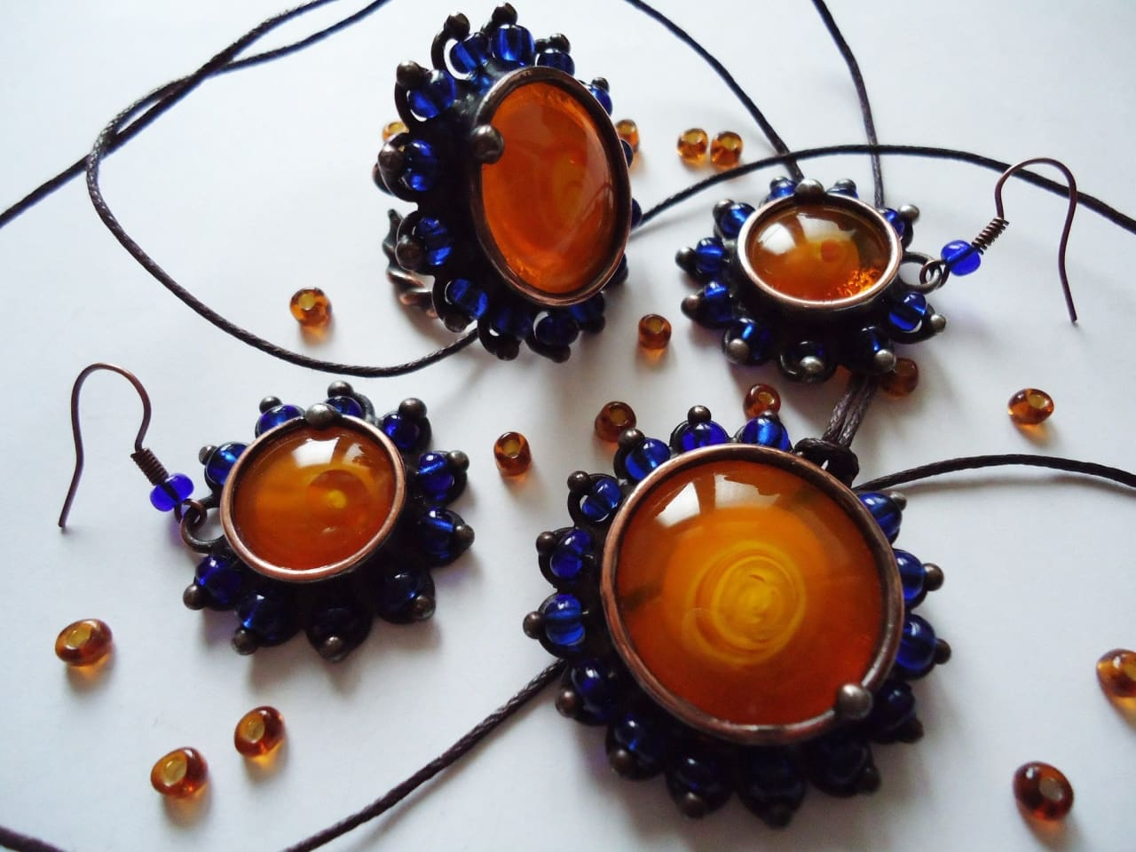 "Copper and crystal jewellery set ""Bohemic"" - 1"
