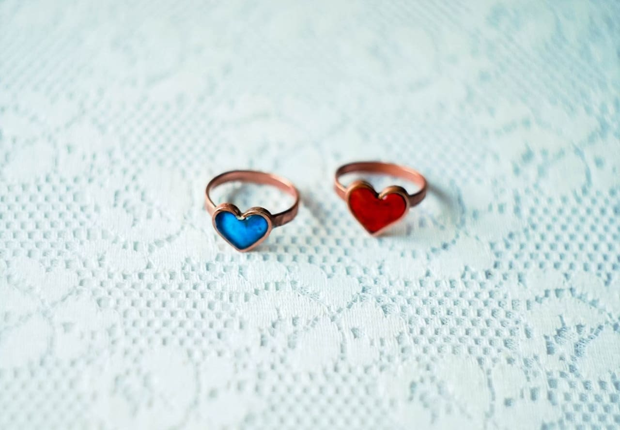 Copper Ring Heart Blue - Melnichenko1