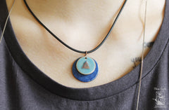 Copper Round Pendant Blue Button - Melnichenko1
