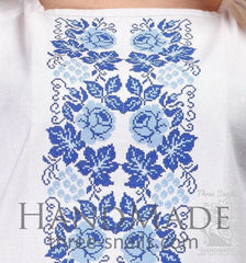 Cotton Blouse Blue Rose - Melnichenko1