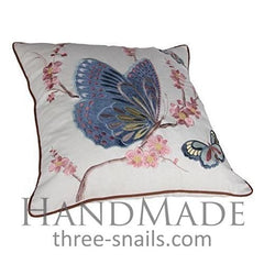 Cotton Pillow Cover Embroidered Butterfly - Pillow Cover