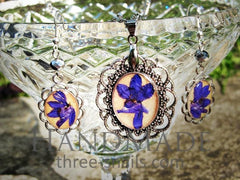 Couple Jewelry Sets. Earrings And Pendant With A Violet Flowers «Francesco» - Melnichenko1
