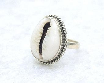 Cowrie Shell Silver Ring - Ring
