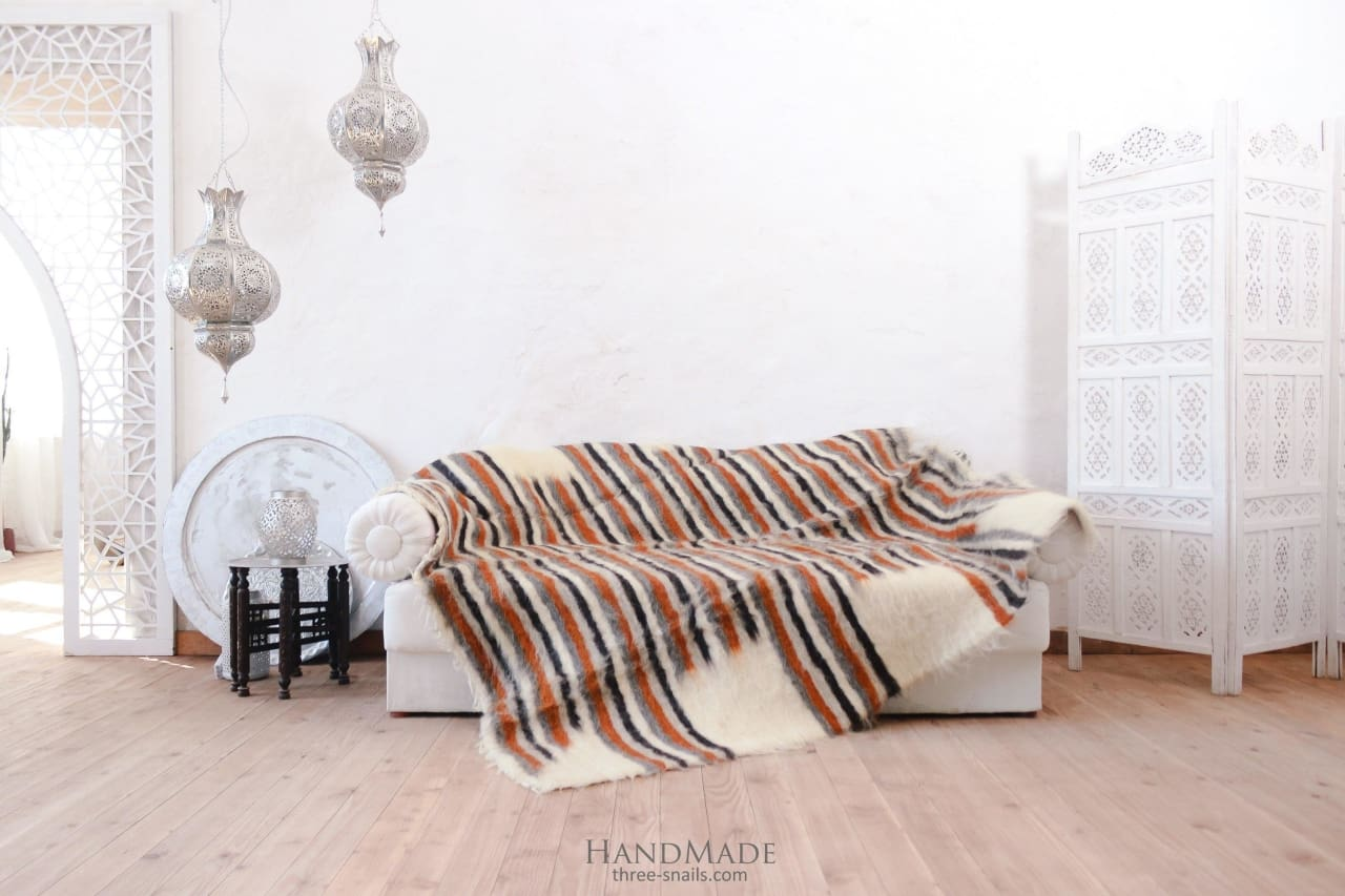 Cozy Blanket With Brown Stripes Red Stripes - Blanket