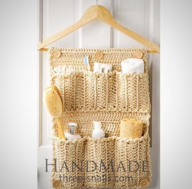 Crochet Hanging Storage Bag For Bathroom - Vasylchenko1