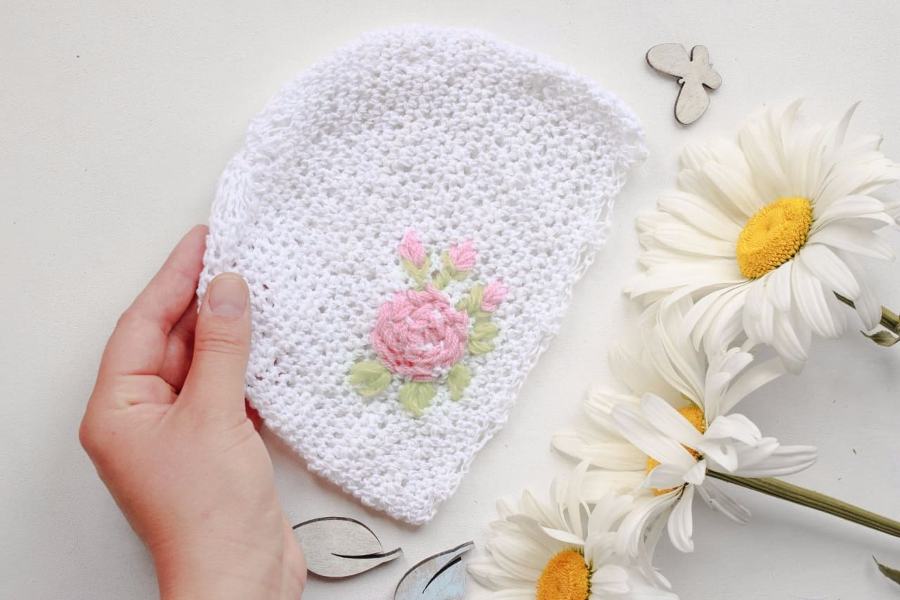 Crochet Infant Hat Pink Flower - Baby Clothes