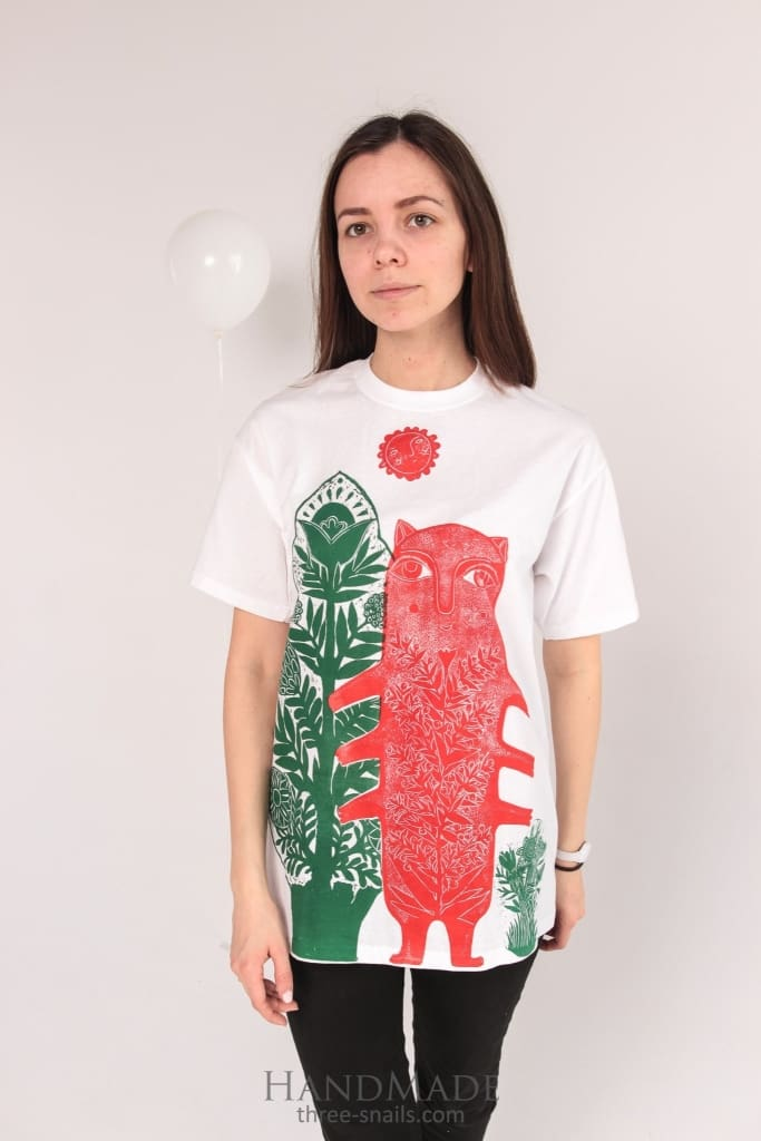"Custom made T-shirt ""Cat with flower"" - 1"