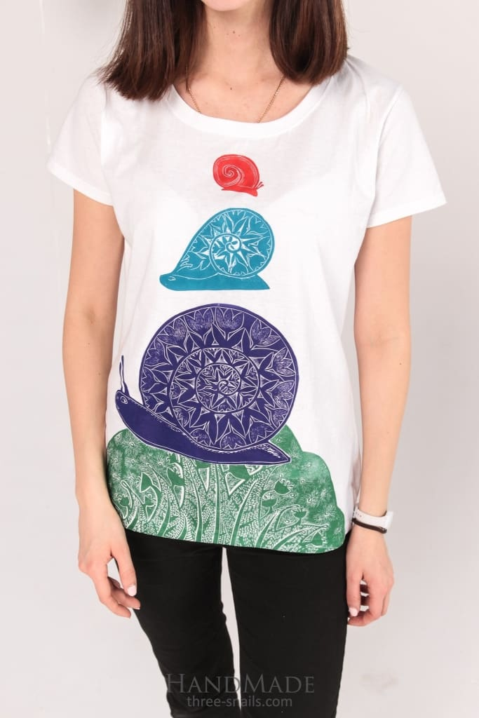 Custom Printed T-Shirt Three Snails - Vasylchenko1