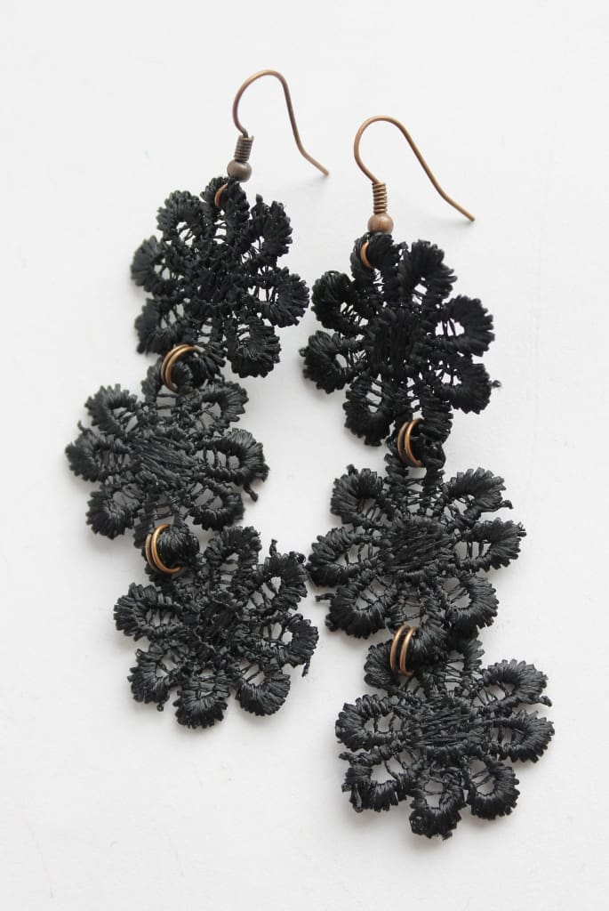 "Cute earrings ""Black daisy"" - 1"